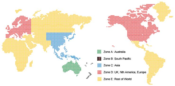 NZ Post World Zones